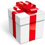 Cadeau blanc avec un ruban rouge